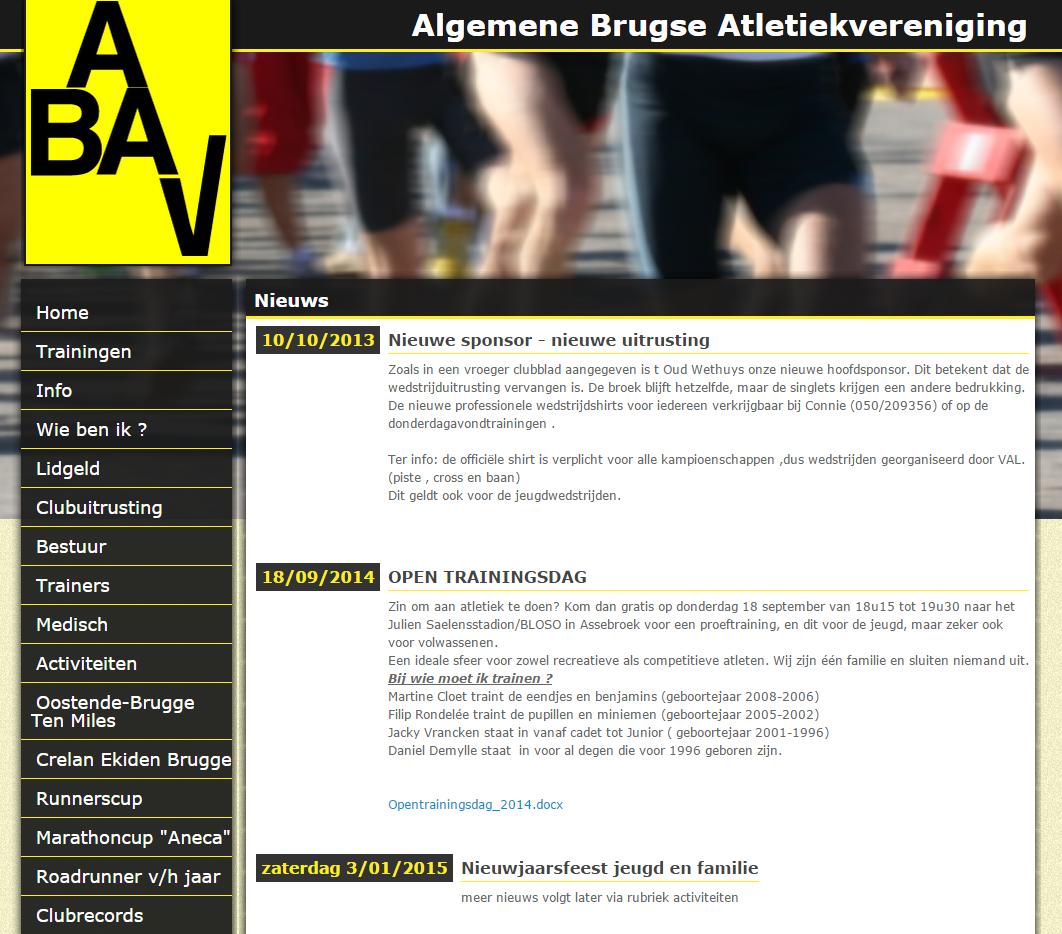 Website voor ABAV atletiekclub
