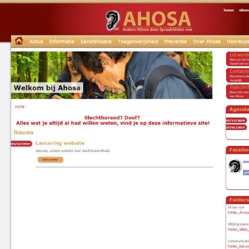 Website voor Ahosa vzw Vereniging voor doven