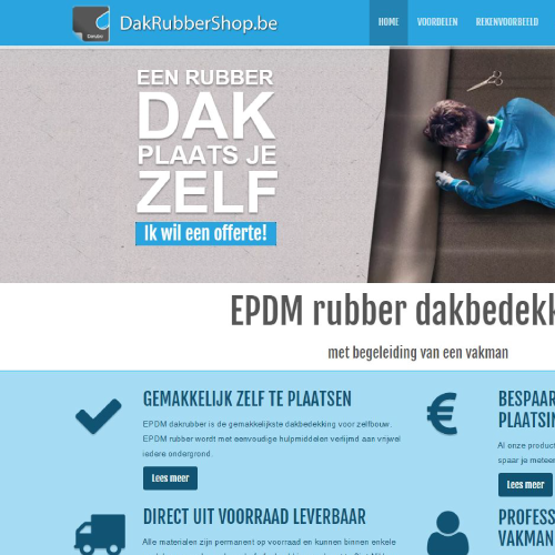 Responsive website voor Dakrubbershop.be