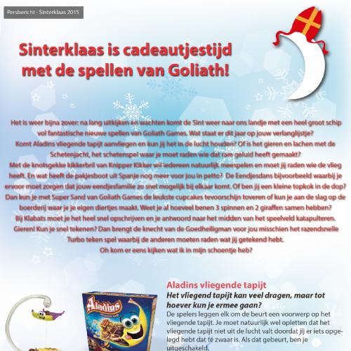 Persbericht grafisch ontwerp Goliath Sinterklaas