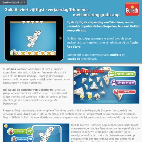Persbericht grafisch ontwerp Goliath, Triominos app