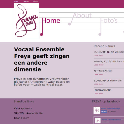 Website voor vocaal ensemble freya ranst